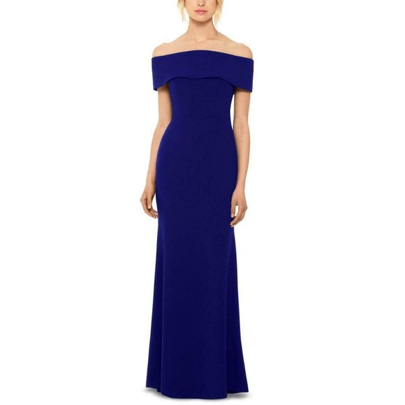 Betsy & Adam NEW Cold-Shoulder Ruffled Gown